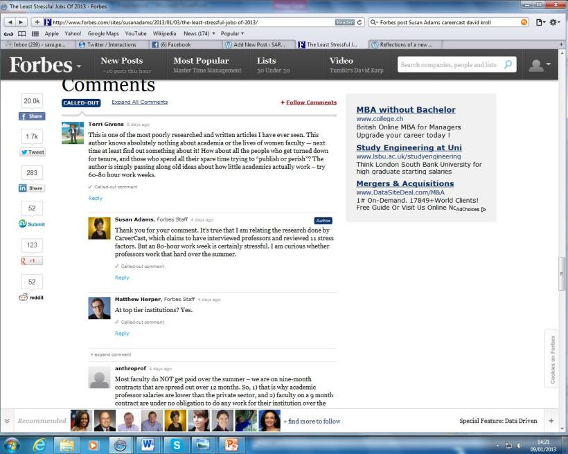 Screenshot of responses to Forbes posting on CareerCast.com's jobs ranking