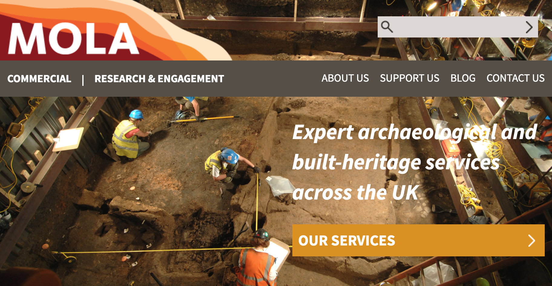 Screenshot of the top banner from the MOLA website, depicting archaeological specialists excavating an unidentified site.
